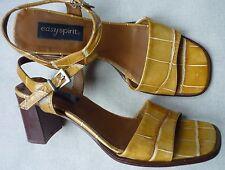 Easy Spirit Nine West Italy Tan 2 Part Sandals Croc Leather Block Heels 40 7 7.5