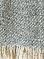 100% Wool Grey Slate Blue Accent Throw Blanket Afghan w/ Fringe Excellent