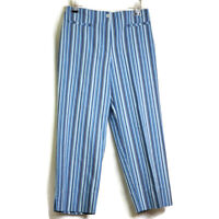 Evan-Picone Casual Womens Cropped Pants Size 10 Blue Striped Stretch Flat Front