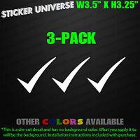 "CHECKMARK Check Mark 3-PACK Vinyl Window Decal Sticker 3.5""x3.25"" Notation 0040"