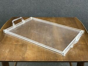 """Mid Century Modern Clear Acrylic Lucite Ghost Serving Tray - 21""""x13"""""""