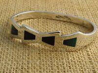 Vtg. Taxco Mexico Black Onyx & Malachite Bow .925 Silver Latch Bracelet TC-116
