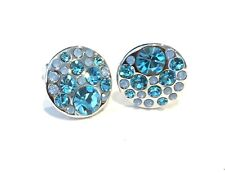 Aquamarine Earrings Ear Stud made with Swarovski Crystal and Rhodium Plating