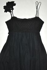 Binetti Runway Black Sleeveless Lace Lined Pleated Long Dress Gown Sz 4 USA EUC