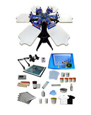TECHTONGDA 6 Color 6 Station Screen Printing Machine with Materials Kits Newest