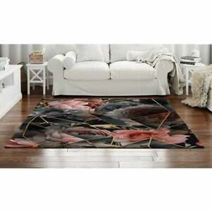 Black And Pink Geometric Floral Area Rug, Geometric Area Rug, Black And Pink Rug