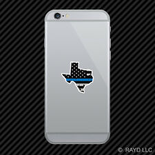 Distressed Thin Blue Line Texas Shaped Subdued US Flag Cell Phone Sticker TX