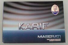 Libretto uso e manutenzione Maserati Karif