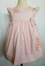 Janie and Jack Dress Sleeveless Pink Floral Applique Time For Tea Size 3T NWT