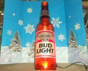 Bud Light Illuminated 3 Foot Tall Wall Display Beer Bottle with Pull String Opr.