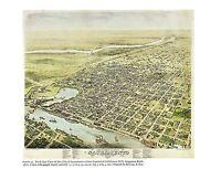 """1976 Vintage CITY """"BIRDS EYE VIEW OF SACRAMENTO CA. (1870)"""" Color Art Lithograph"""