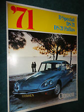 1971 CITROEN SALES BROCHURE /  ORIGINAL DEALERSHIP FOLDER DS 21 PALLAS DS21 ++