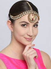 Belly Dance Maang Tikka Maroon Indian Bollywood Mathapatti For-Head Hair Jewelry