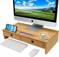 Computer Monitor Stand with Drawers - Bamboo Laptop Screen Printer TV Riser