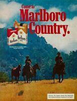 1977 Marlboro Country Cigarettes 100's Cowboys Riding Horses Vintage Print Ad