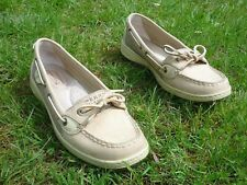 SPERRY TOPSIDERS BOAT SHOES 9M BEIGE LEATHER NON SCUFF RUBBER EDGES SHIP-SHAPE !