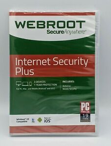 Webroot Secure Anywhere Internet Security PLUS 3 Devices / 1 Year Protection New