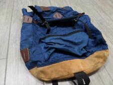 1980s vintage SUEDE LEATHER canvas backpack HIKING camping blue jansport gregory
