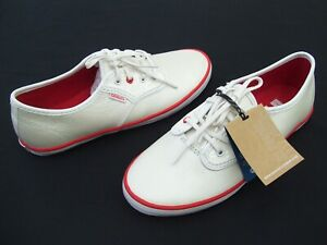 LADIES CASUAL LEATHER SHOES SNEAKERS ATHLETIC WOMENS WHITE RED SIZE 7 COMFY LACE
