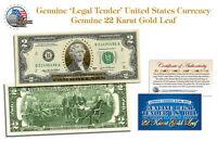 24 KARAT GOLD * Legal Tender * GENUINE BANKNOTE $2 U.S. BILL BANKNOTE with COA