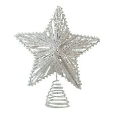 25cm White Star Shaped Christmas Tree Topper Decoration