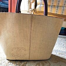 Chanel Vintage CC Straw Tote / Handbag
