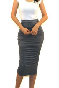 Got Style Solid Ruched Frill High Waist Mid Calf Casual Pencil Skirt S M L XL