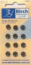Birch Press Studs Black Size (0) 7mm 12 Sets Back Front Snap Fasteners Rustproof