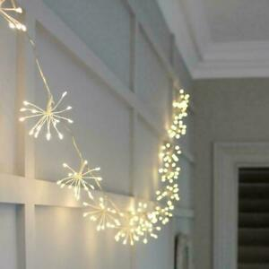 50/100 LED Solar Firework Starburst String Fairy Light Outdoor Garden Party Lamp