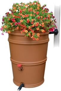 Rain Barrel 45 Gal. Removeable Lid Terracotta Colored Plastic with Diverter Kit