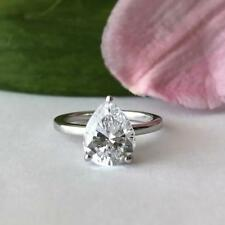 Engagement Ring Fine 14k White Gold Gp 3 Ct Pear Solitaire 10mm x 8mm Diamond