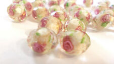 28 Beautiful Roses Loose Faceted Glass Millefiori Beads for jewelry making