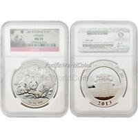 China 2013 Panda 10 Yuan 1 oz Silver NGC MS70