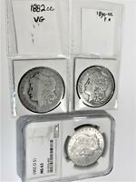 2 Carson City Morgan Silver Dollars + 1 NGC slab (see descriptions below)