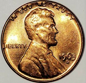 1963 D RD DDR Lincoln Memorial Cent (Gem) Brilliant Uncirculated from mint set