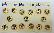 "Three Cards VTG LaVie  5/8"" Gold, Brown, & White Buttons"