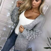 Ladies Womens Bubble Bobble Sleeve Knitted Cardigan Chunky Knit Jumper Sweater