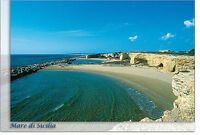 CARTOLINA SICILIA CIRIGA ISPICA SPIAGGIA MARE SEA BEACH SICILY POSTCARD