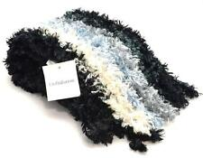 Winter Croft & Barrow Women's Scarves Black White Silver Blue Feather Chenille