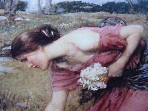 "Pre-Raphaelite NARCISSUS flower art print young girl J. W. Waterhouse 7"" x 5"""