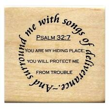 Surround me with songs of deliverance Mounted rubber stamp bible verse Psalm #16