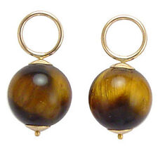 14k Yellow Gold  Tiger Eye Stone Earring Charms Add to hoops or use for a charm