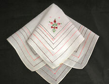 vintage handkerchief EMBROIDERED ROSEBUDS AND BOWS  stitched stripe edges ESTATE