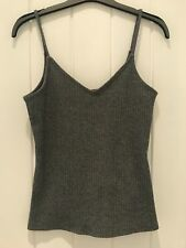 H & M LADIES GREY MARL  RIB STRAPPY CAMISOLE TOP T-SHIRT SIZE 10  NEW
