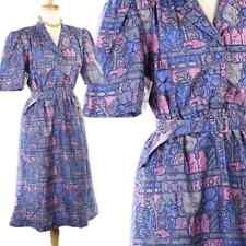 80s Purple Thai Silk Shirt Dress - Vintage Graphic Print w/ Shoulder Pads & Belt