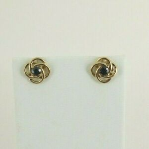 9ct Gold Sapphire Earrings Round Stud Butterfly Fittings with gift box