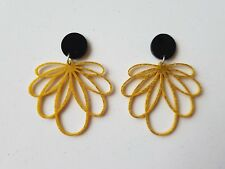 Statement dangle stud earrings acrylic gold glittery retro inspired pattern