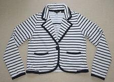 Ben Sherman Designer Women Cotton  Blend Jacket  Blazer Black White Stripes Sz M