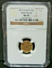 2015 Eagle G$5, NCG MS70, 1/10 oz Gold Eagle WIDE REEDS V1347
