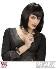 Black Vampire Wig Vampiress Dracula Gothic Emo Halloween Fancy Dress